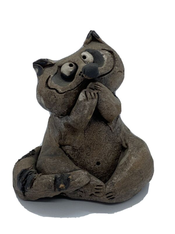 Ceramic Hand Sculpted Sitting Coy Silly Raccoon Signed Nancy