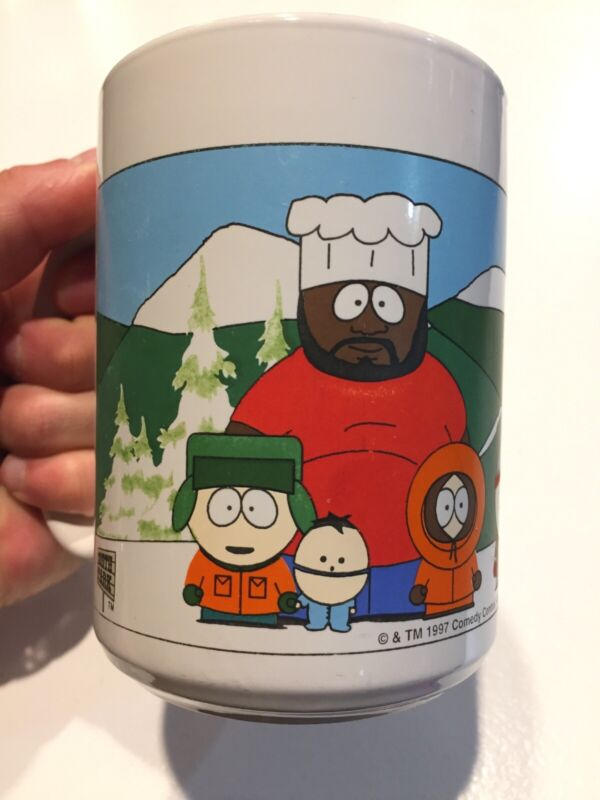 VTG 1997 South Park Coffee Cup Mug Cartman Kenny Kyle Stan Chef Ike 90s Comedy