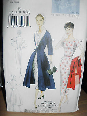 Vintage Vogue Model 1955 sewing pattern dress & coat sz 16-24, NEW on Rummage
