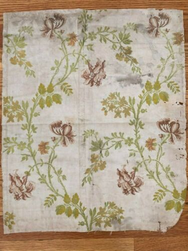 "Antique French 18th century floral silk brocade fabric  (21"" x 17.5"")"