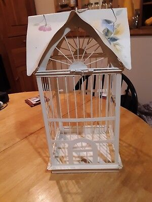 floral design steel hanging bird cage hinged top