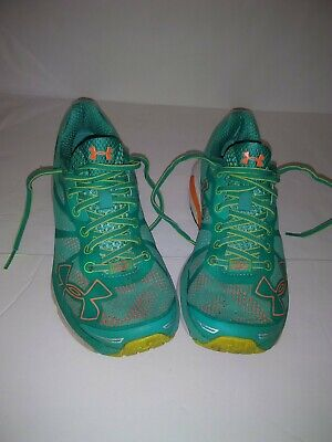 Womens Teal Blue & Orange Under Armour Charged Bandit Tennis Shoes Size 7