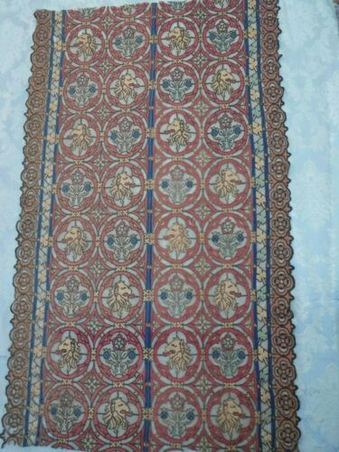 Antique Silk & Net Lace Panel Remnant Lions Heads Floral
