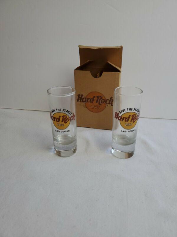 "Hard Rock Cafe Double Shot Glass 4"" Las Vegas, Nevada USA Lot of 2 NIB"