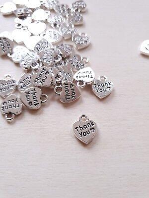 50 x Herz Anhänger THANK YOU ♥ Danke Schmuckherstellung Message Charms Silber