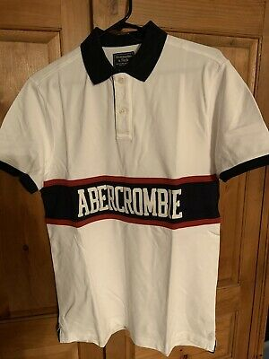 Abercrombie & Fitch Mens COLORBLOCK LOGO SS Polo Sz XL $48 X-Large WHITE & NAVY