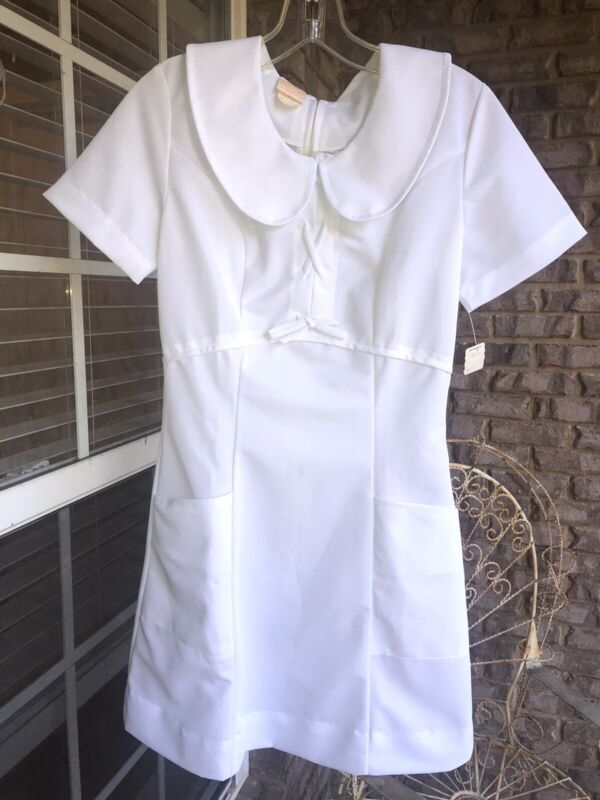New With Tags Vintage Nurse Uniform Dress Costume Small White Short Fitted