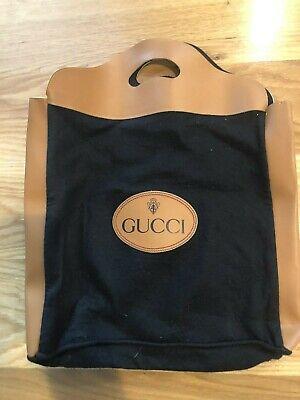 VINTAGE GUCCI Black Tan Wool Felt Bag Shopper Tote 1970's