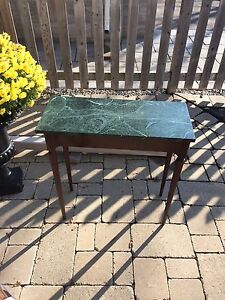 Marble top hallway table with Mahogany legs