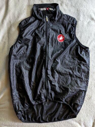 CASTELLI Packable Windbreaker Sleeveless Cycling Vest Mens XXL Black Rain Shell