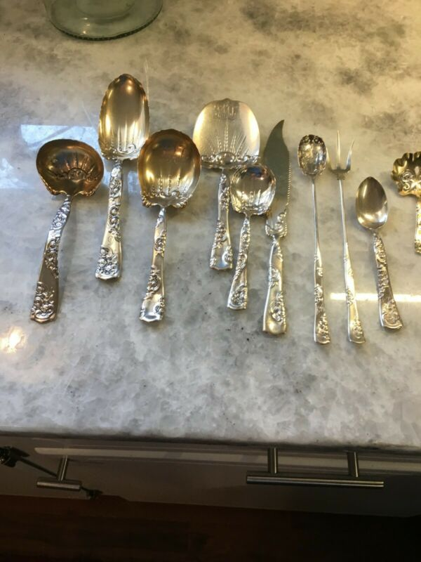 & Roses and Scrolls Circa 1890 by Whiting Antique Sterling Silver&Serving Pcs.