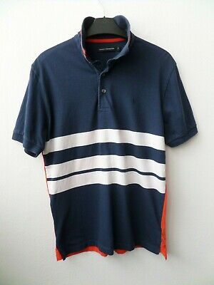 Men's French Connection Navy/White/Orange Cotton Polo Shirt T Shirt Size Small