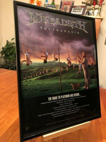 "BIG 11x14 FRAMED ORIGINAL MEGADEATH ""YOUTHANASIA"" LP ALBUM CD 45 PROMO AD"