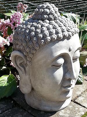 XL Großer Buddha Kopf steingrau ca. 50 cm Figur Feng Shui Skulptur Lotus ASIA