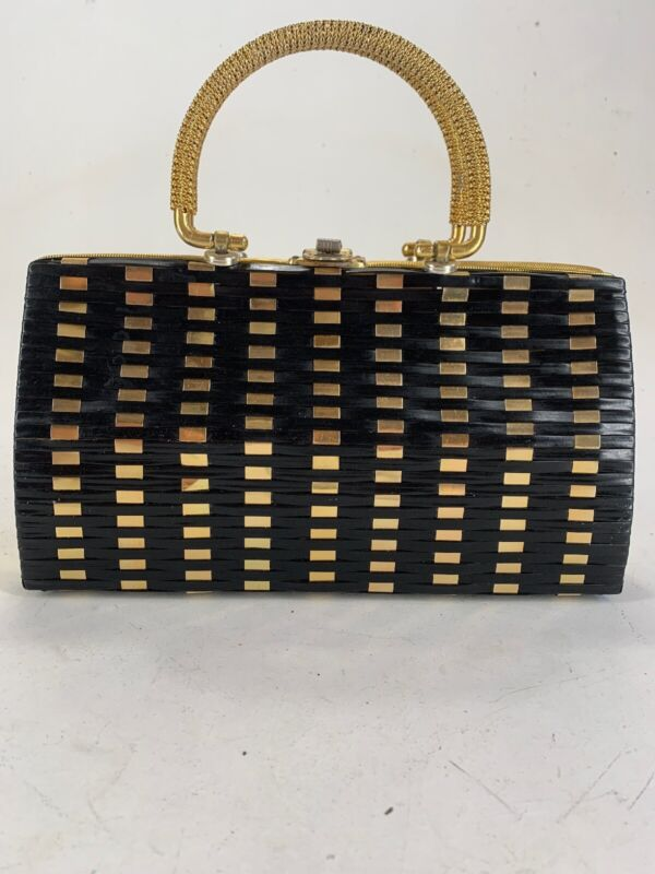 Vintage 1960's Skalny Basket Weave Black Gold Hangbag Purse HONG KONG