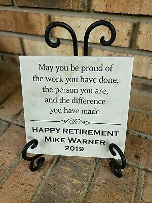 Plaque Tile Happy Retirement gift personalized name custom teacher boss's day