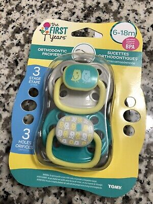 New! 2 Packs The First Years Orthodontic Pacifiers 6-18 Months Stage 3 BPA Free