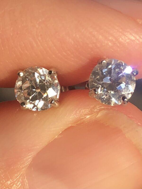 Old European Cut Diamond Stud Earrings 1.04 Carat H VS1 14k