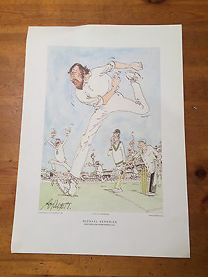 Cricket Print of Michael Hendrick by Roy Ullyett DNT