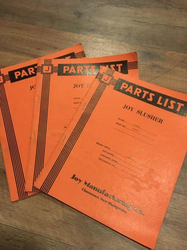 1940's Joy Slusher Parts List Instruction Book Lot Of 3 Miners Mining