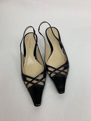 Ann Taylor Black Patent Leather Criss Cross Toe Slingback Heels Shoes 6.5