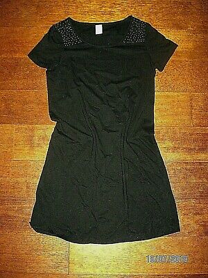 VILA  Knap katoen/elasthane kleed korte mouw met pereltjes. Maat S.