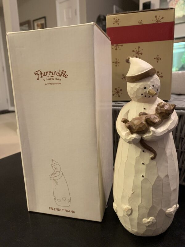 Flurryville Collection Friendly Frank Snowman Holding Cat Kitten With Box