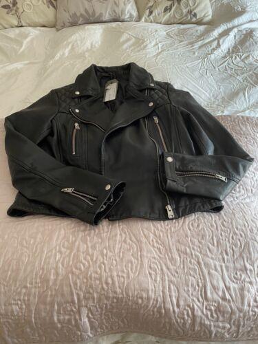 All Saints Leather Jacket Conroy Size 12