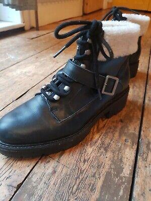 Ladies Kelsi Dagger black flat leather ankle boots size 6