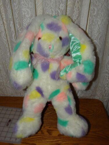 "Large Rare  20"" Pastel Rainbow Bunny Rabbit Plush 2001 Commonwealth"