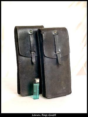 Französische schwarze Leder-Patronentasche - Algerienkrieg-2 Stück Koppeltasche