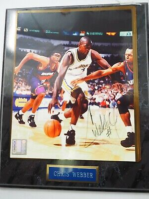 Chris Webber Golden State Warriors Signiert Farbe NBA Foto 1994 W COA