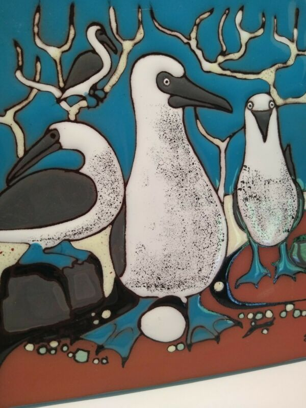 Edward Vega Ceramic Tile Blue Footed Boobies Art Tile Latin American Artist