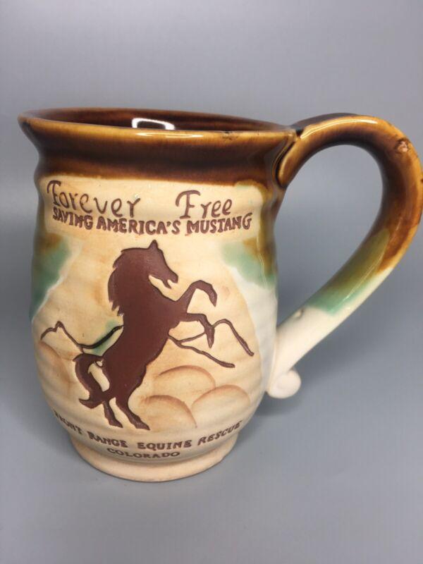 Forever Free Mustang FrontRange Equine Rescue Colorado Studio Pottery Coffee Mug