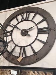 OVERSIZE DARK RUSTIC BRONZE FINISH ROUND BIG WALL CLOCK ROMAN NUMBERS RUST GRAY
