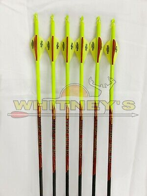 Black Eagle Archery Outlaw Yellow Crested Fletched Arrows - 300 / .005 - 6 Pack -