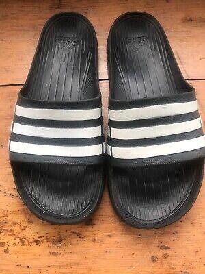 Adidas Sliders Black & White Size 8