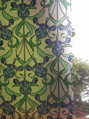 BLUE GREEN FROSTED PRIVACY STAINED GLASS WINDOW STICKY BACK PLASTIC VINYL FILM