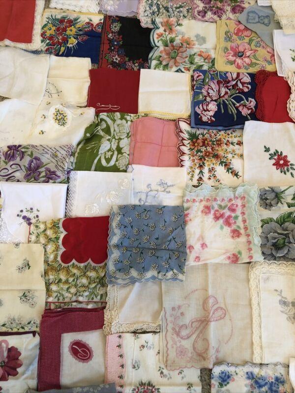 75 Pc.  LOT  Vintage HANKIES LOT Embroidery~Floral~  Handkerchief