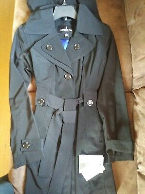 London Fog Double Breasted Trench coat with Removable Hood Black sz SM Breasted Hooded Trench Coat