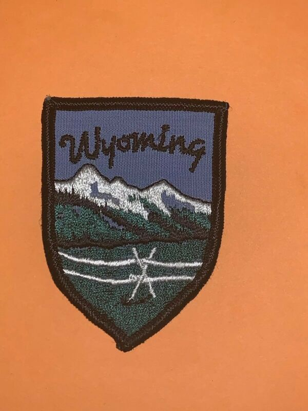 Wyoming Patch State Vacation Souvenir Snow On Mountains
