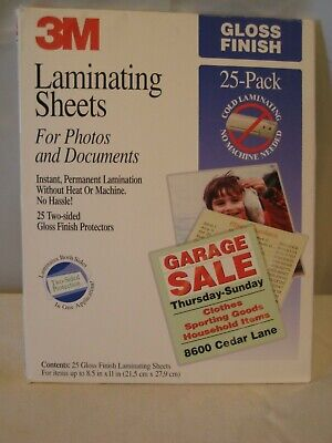 "22 3M Laminating Sheets Two-sided Gloss Finish Protectors LS854-25G 8.5' x 11"""