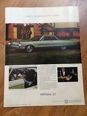 1967 Chrysler Imperial Crown Coupe Ad The Newest Prestige Automobile in a Decade