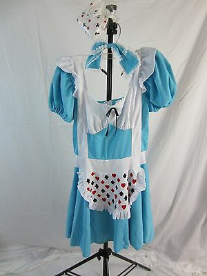 Sexy Card Girl Adult Dress Costume w/Tights - Blue/White - Women's Size L