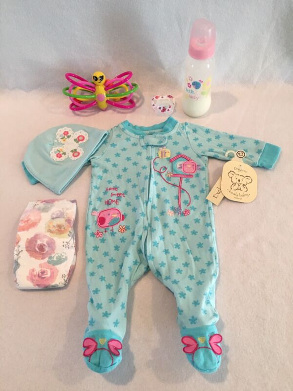 Reborn Baby Doll Flowered Birdhouse Outfit W/bottle, Pacifier & Accs