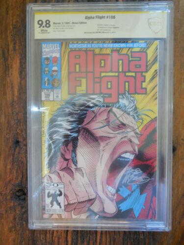 3/92 Alpha Flight 106 CBCS Graded 9.8 Signed in Silver Bob McLeod Biz Card Incl