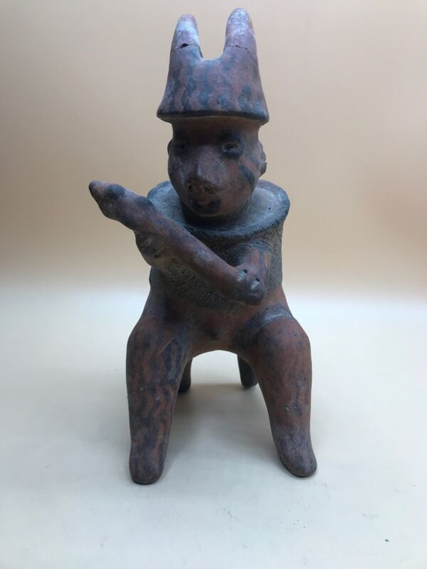 Pre Columbian Clay Figure Man Horn Headdress Sitting Animal Like