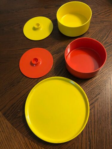 Vintage Heller Massino Vignelli Melamine Yellow & Orange Bowl and Small Platter