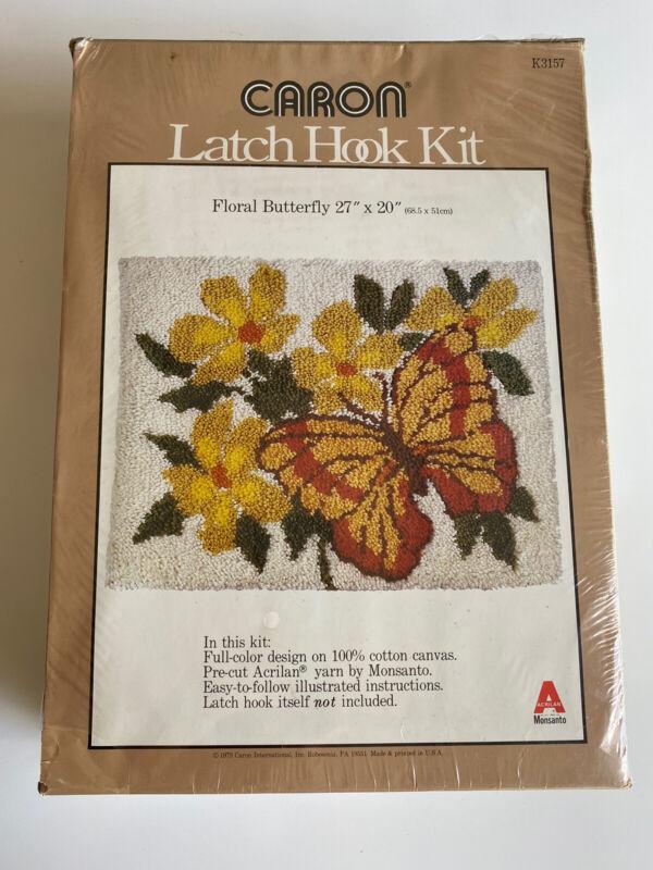 Caron Latch Hook Kit K3157 Floral Butterfly 27x20 Vintage 1979 New Unopened!