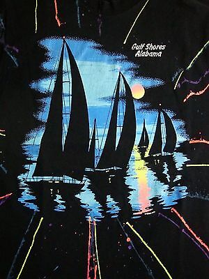 Vintage Gulf Shores Alabama Beach Sailboats Boats Neon 90's T Shirt M